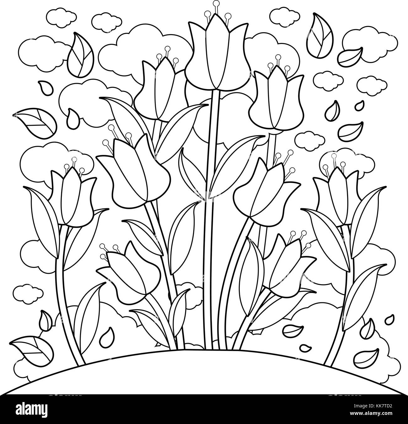Meadow With Tulip Flowers Black And White Coloring Book Page Stock Vector Image Art Alamy