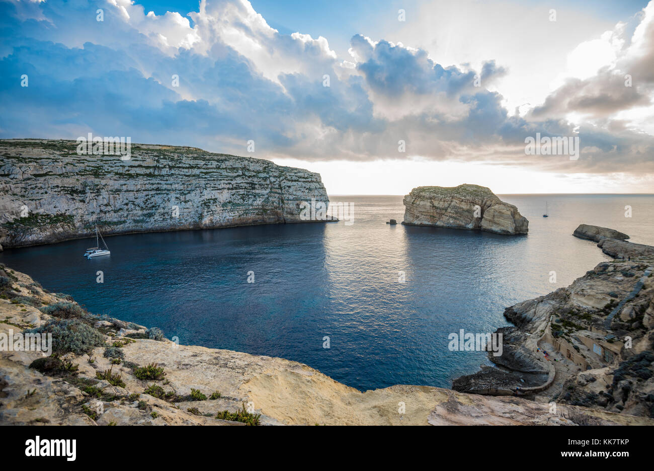 Panoramic view of Dwejra bay with Fungus Rock, Gozo, Malta - Stock Image