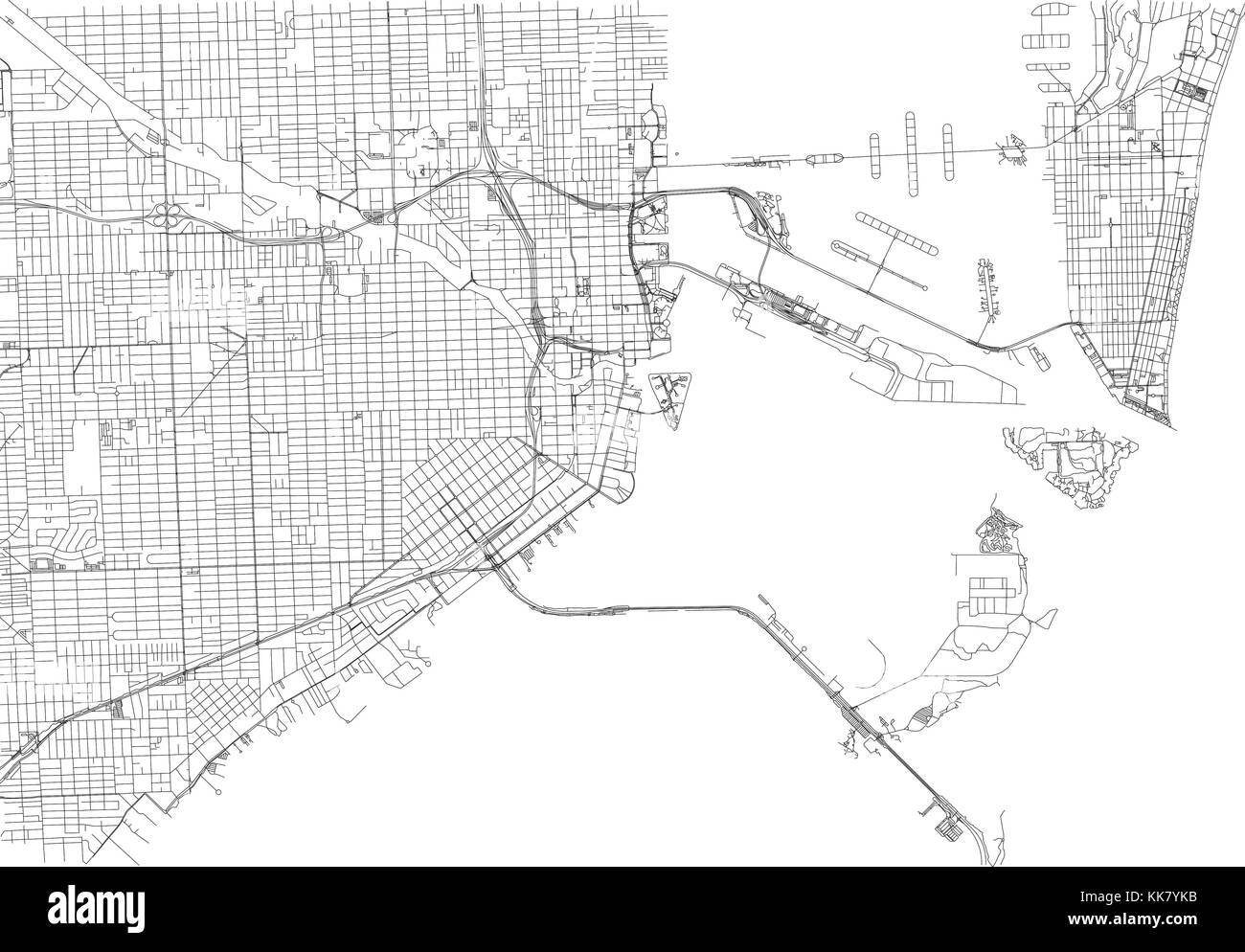 United States Map Florida.Streets Of Miami City Map Florida United States Street Map Stock