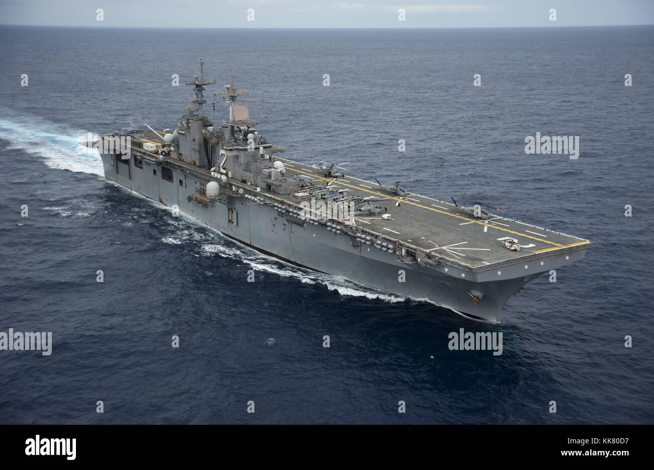 The amphibious assault ship USS Essex LHD 2 transits through the Pacific Ocean, 2012. Image courtesy Mass Communication Stock Photo