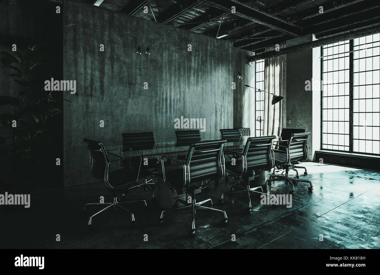 Dark modern industrial loft conversion interior with grungy streaked grey concrete wall, large floor to ceiling Stock Photo