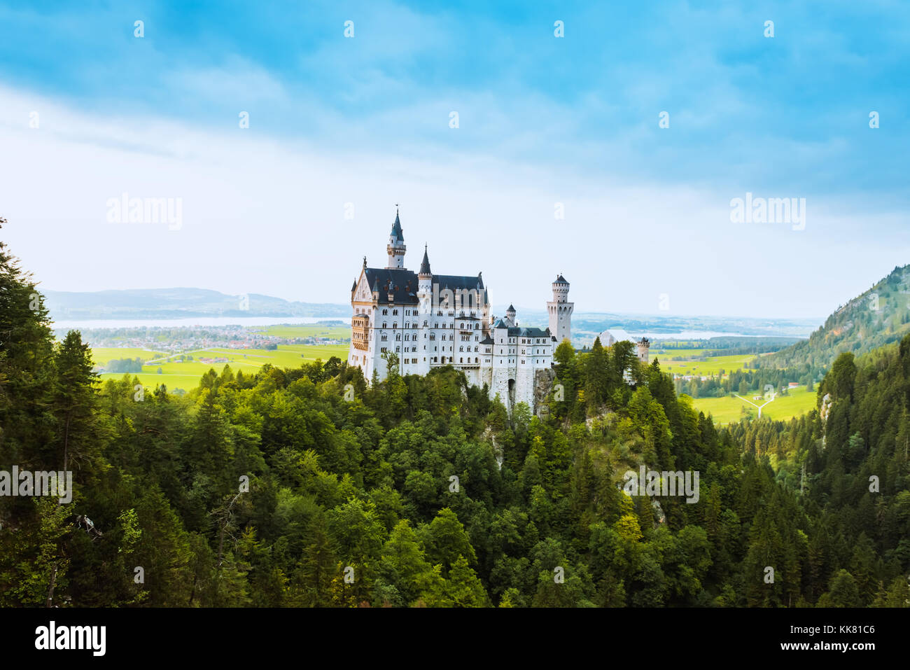 Beautiful aerial view of Neuschwanstein castle in summer season - Stock Image
