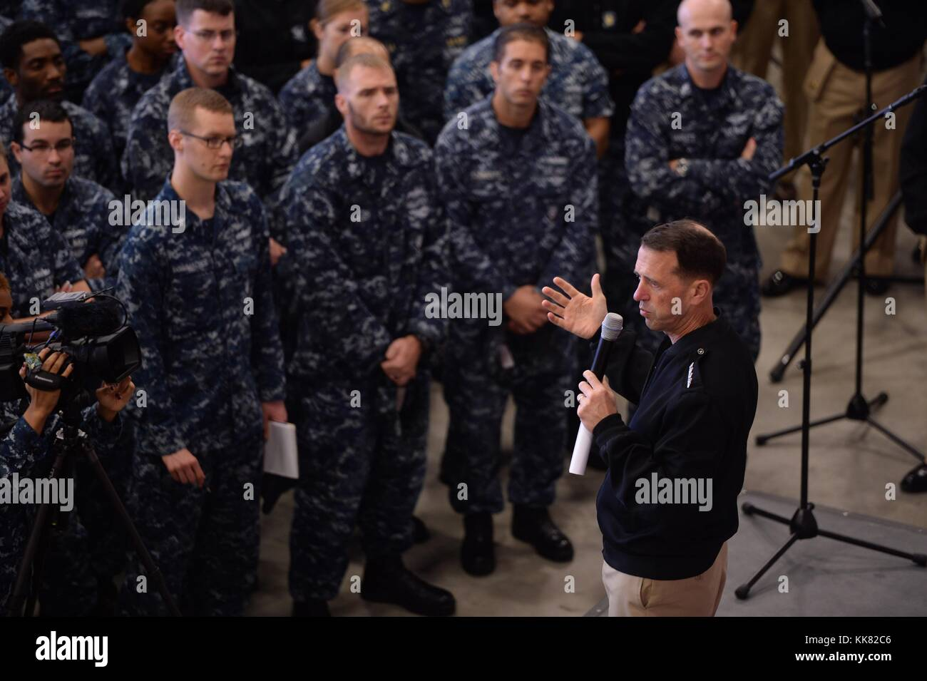 Chief of Naval Operations CNO Admiral John Richardson provides remarks during an all-hands call at Naval Support Stock Photo