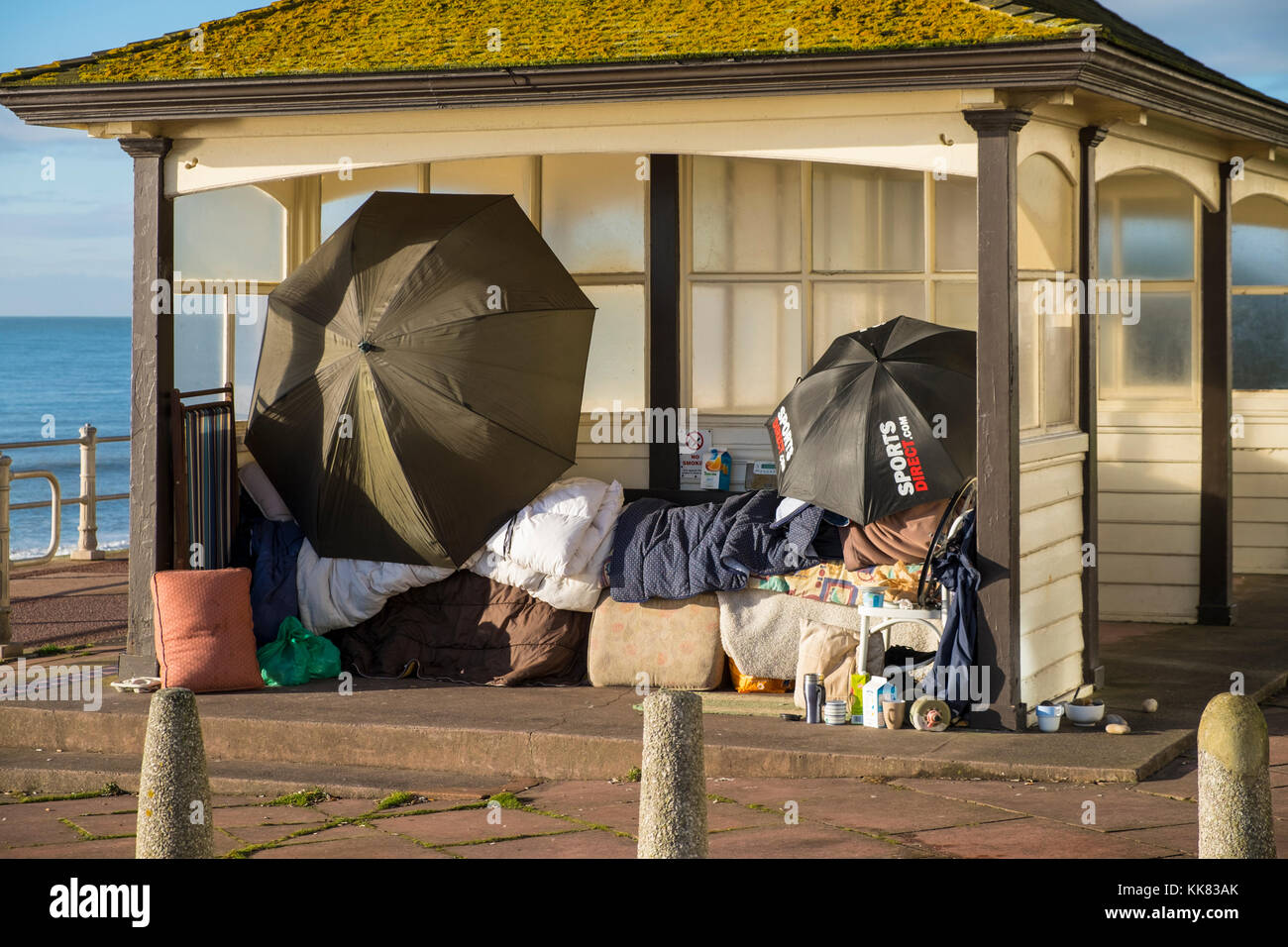 Homelessness in Hastings, East Sussex, UK - Stock Image