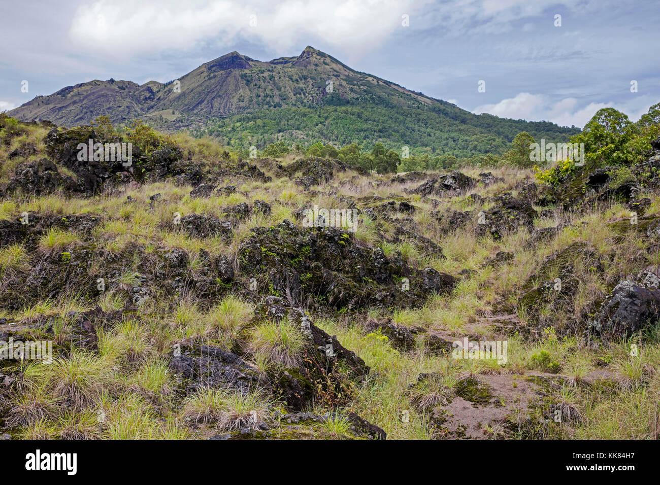 Lava field and caldera on Mount Batur / Gunung Batur, active volcano in the Bangli Regency, Bali, Indonesia - Stock Image