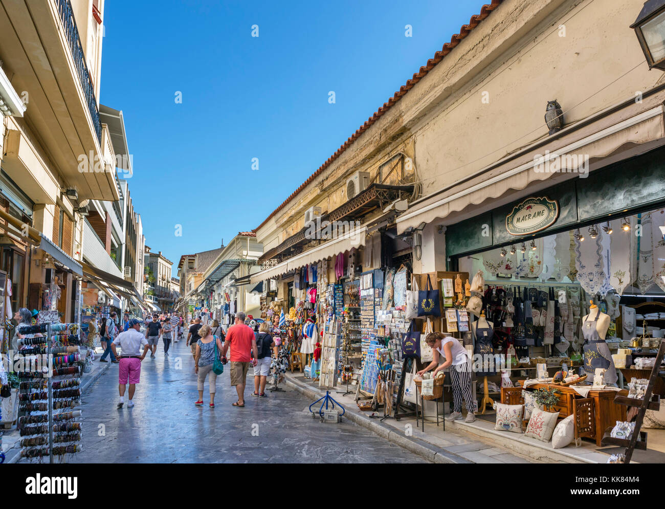 Shops on Adrianou Street in the Plaka district, Athens, Greece - Stock Image
