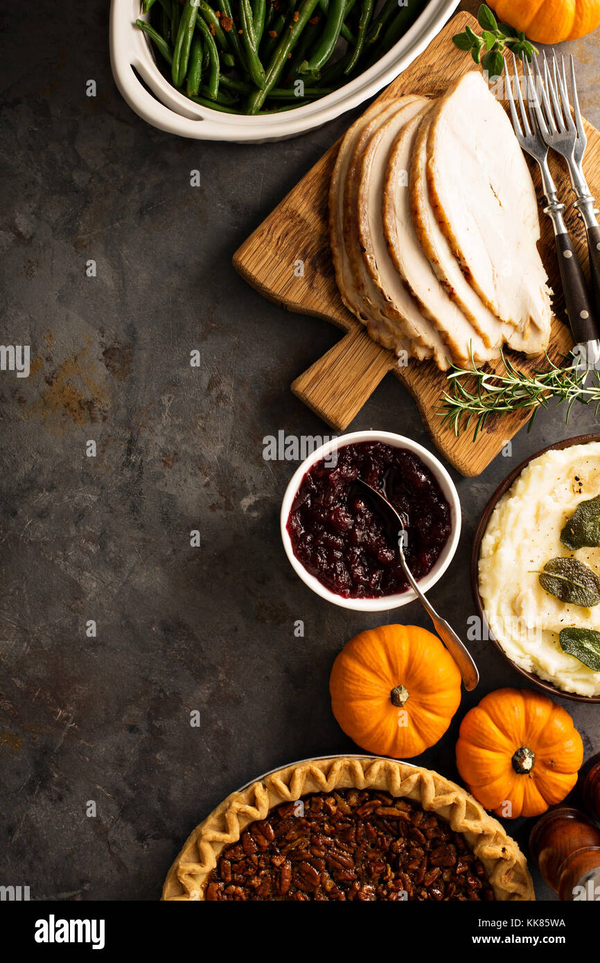 Thanksgiving table overhead shot - Stock Image
