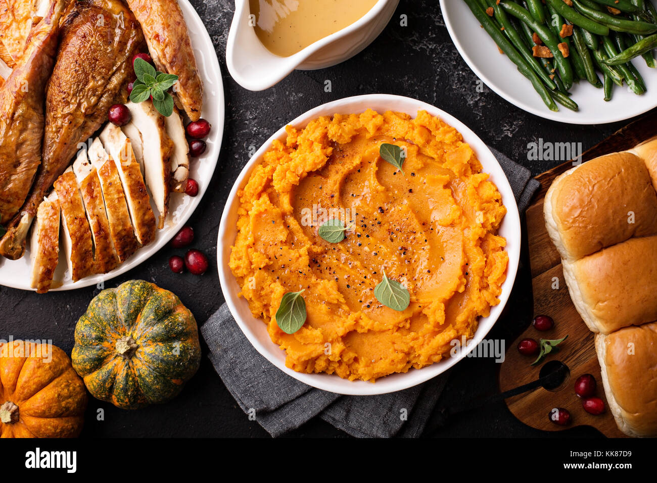 Mashed sweet potatoes on Thanksgiving table Stock Photo