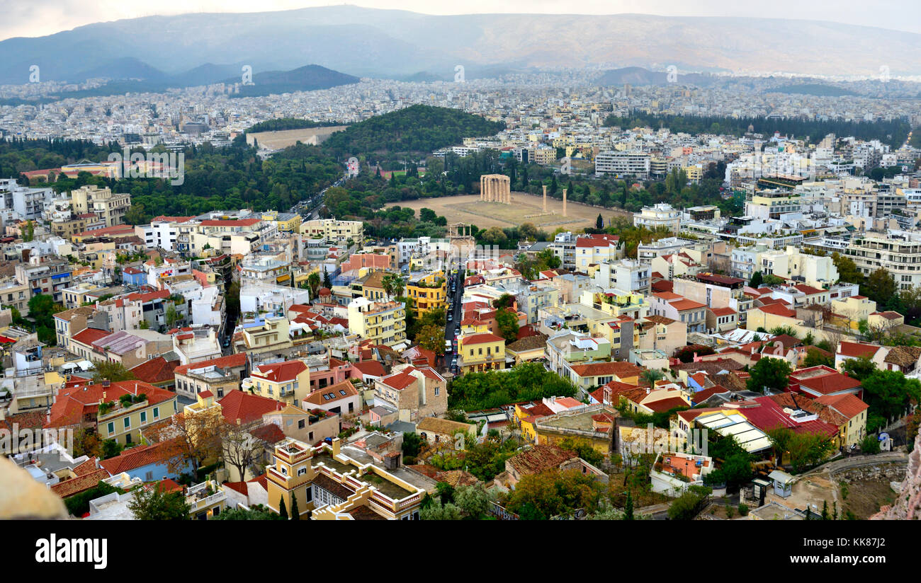 Overlooking Athens with view of Temple of Olympian Zeus, Hadrian's Arch and city from the Acropolis - Stock Image