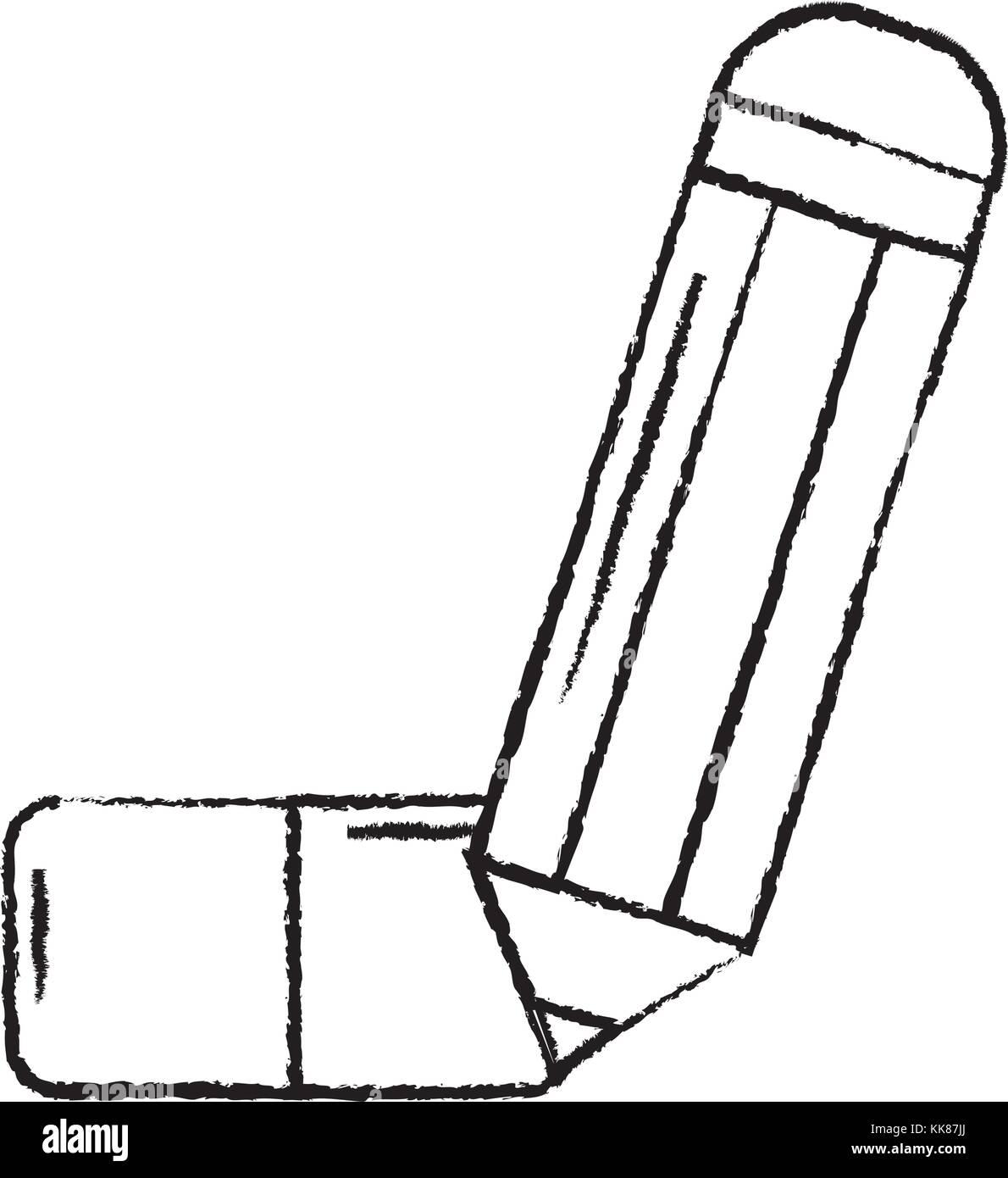 pencil with eraser school supplies icon image  - Stock Vector