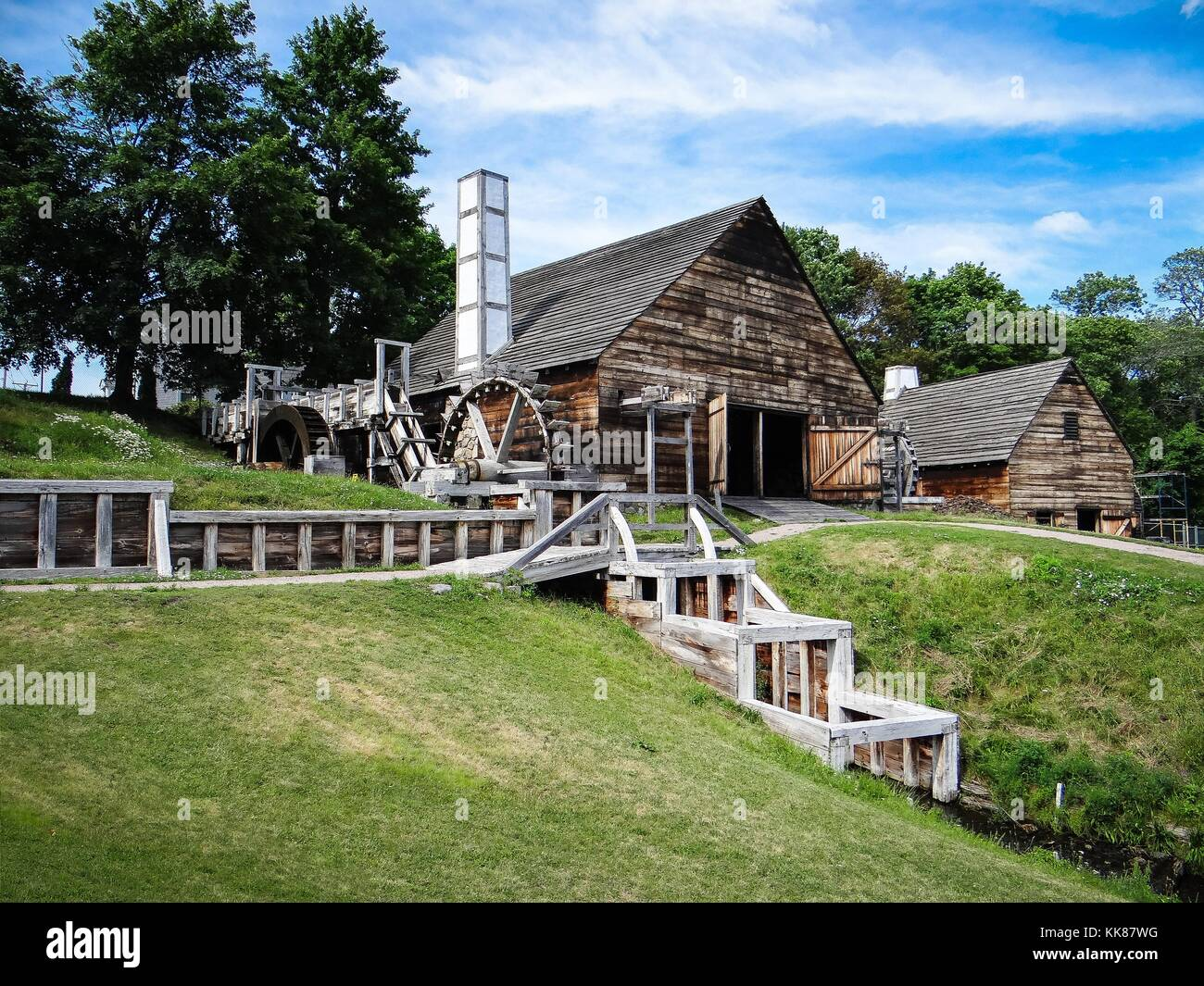Forge at Saugus Iron Works, in Massachusetts, as well as the rolling and slitting mill. Image courtesy Alex Demas/USGS, - Stock Image