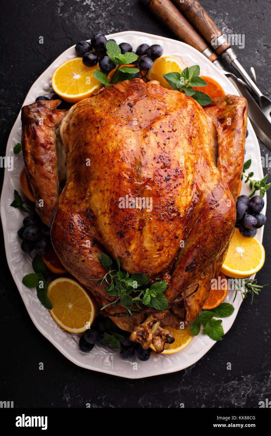 Festive celebration roasted turkey for Thanksgiving - Stock Image
