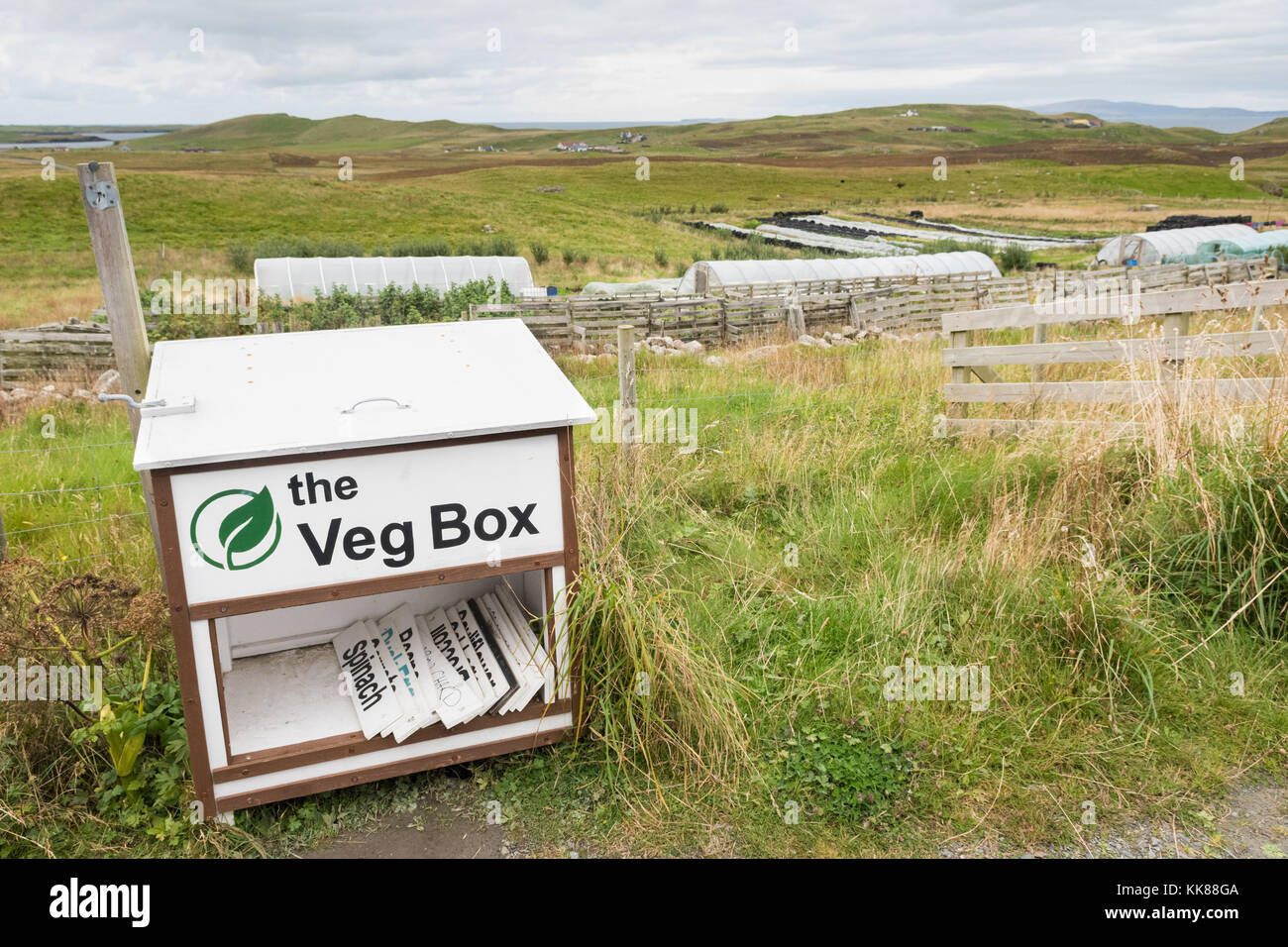 Honesty box for farm produce from croft, Sandness, Shetland Islands, Scotland, UK - Stock Image