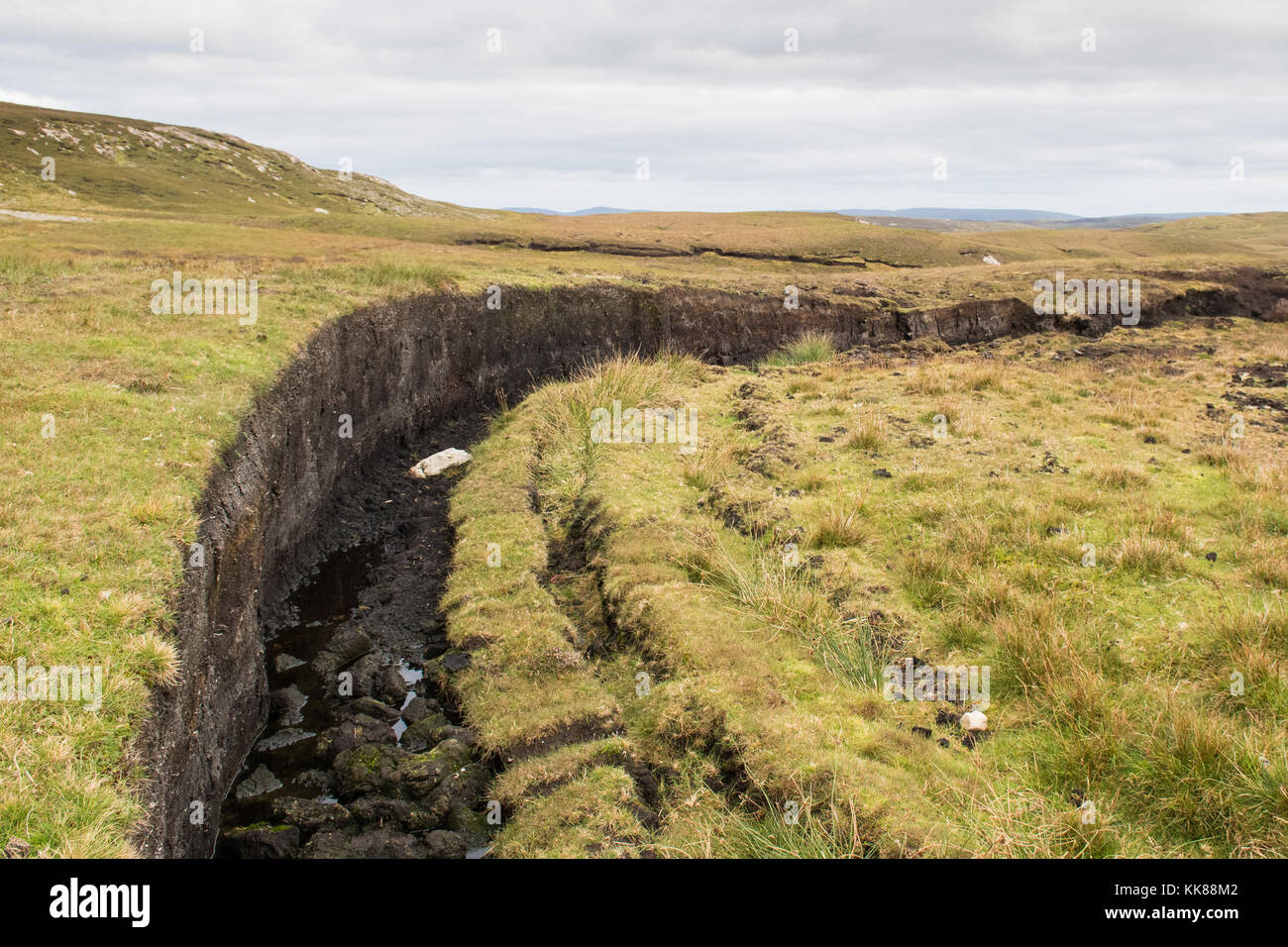 Peat, Scotland - worked bank of peat dug for fuel in the Shetland Islands, Scotland, UK - Stock Image