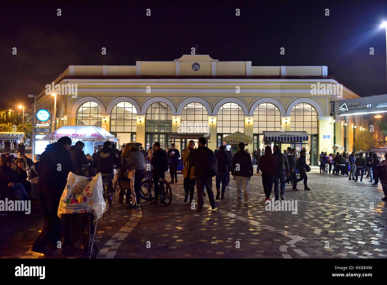 Night in Monastiraki with Monastiraki metro station in background by Ermou Street central Athens, GreeceStock Photo
