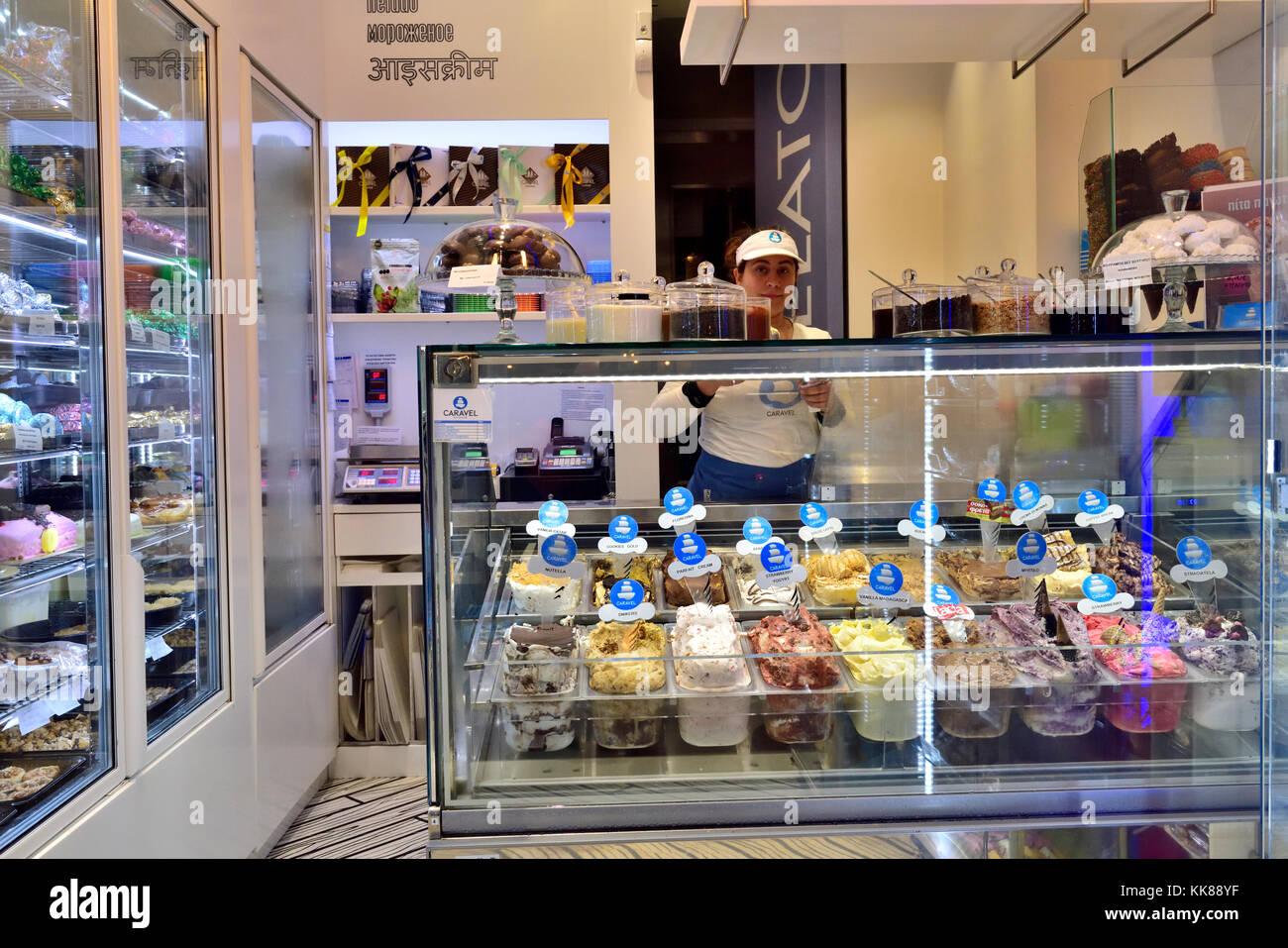 Inside Greek ice cream parlor in central Athens near Monastiraki on Ermou Street, Greece Stock Photo