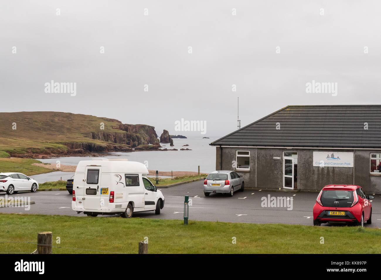 Braewick cafe campsite, Eshaness, Shetland Islands, Scotland uK - Stock Image