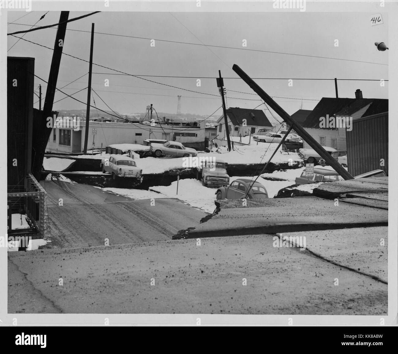 A photograph showing the destruction that occurred in Anchorage caused by the 1964 Alaska earthquake, major ground - Stock Image