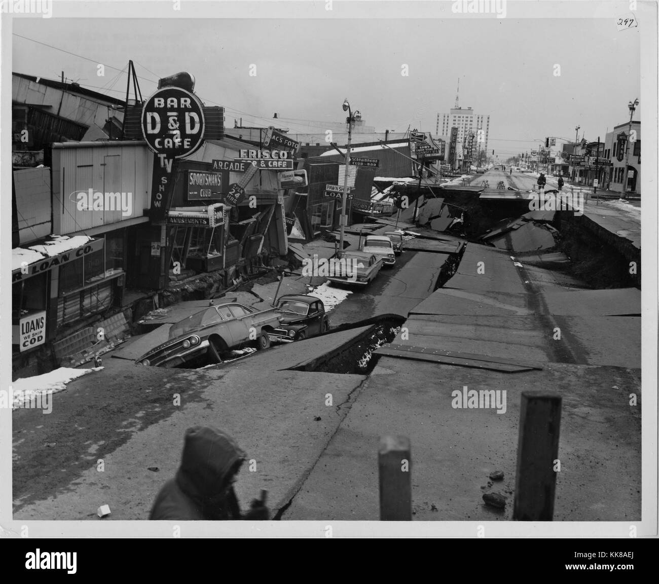 A photograph of Fourth Avenue in Anchorage following the 1964 Alaska Earthquake, an 11 foot subsidence occurred - Stock Image
