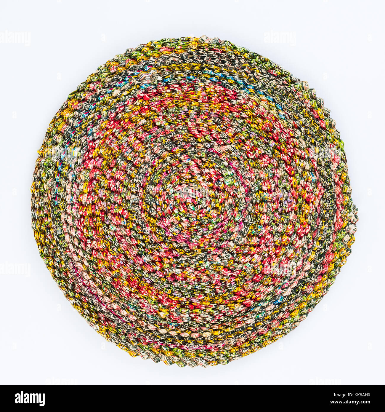 Round matt created with discarded gum wrappers - Stock Image
