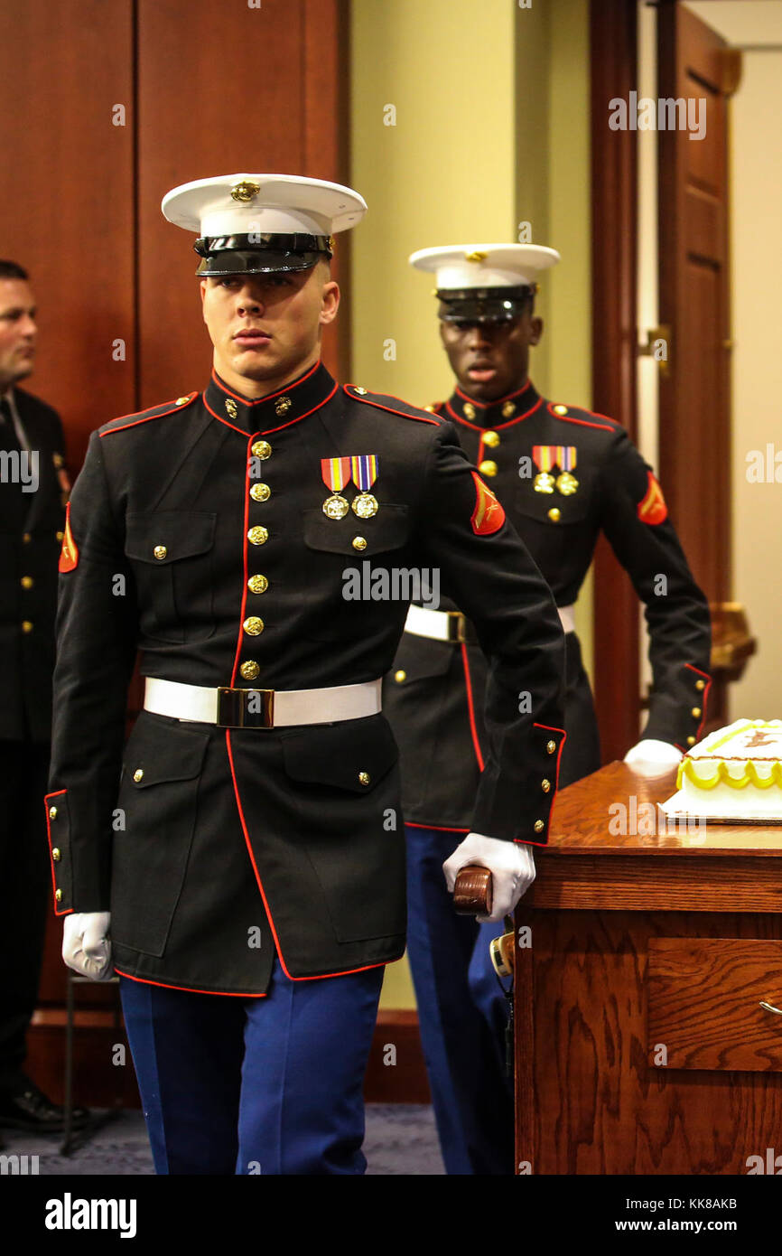 385abf7f17b A cake cutting detail with Marine Barracks Washington D.C. marches in the  U.S. Capitol Visitor Center during the House of Representatives  Marine  Corps ...
