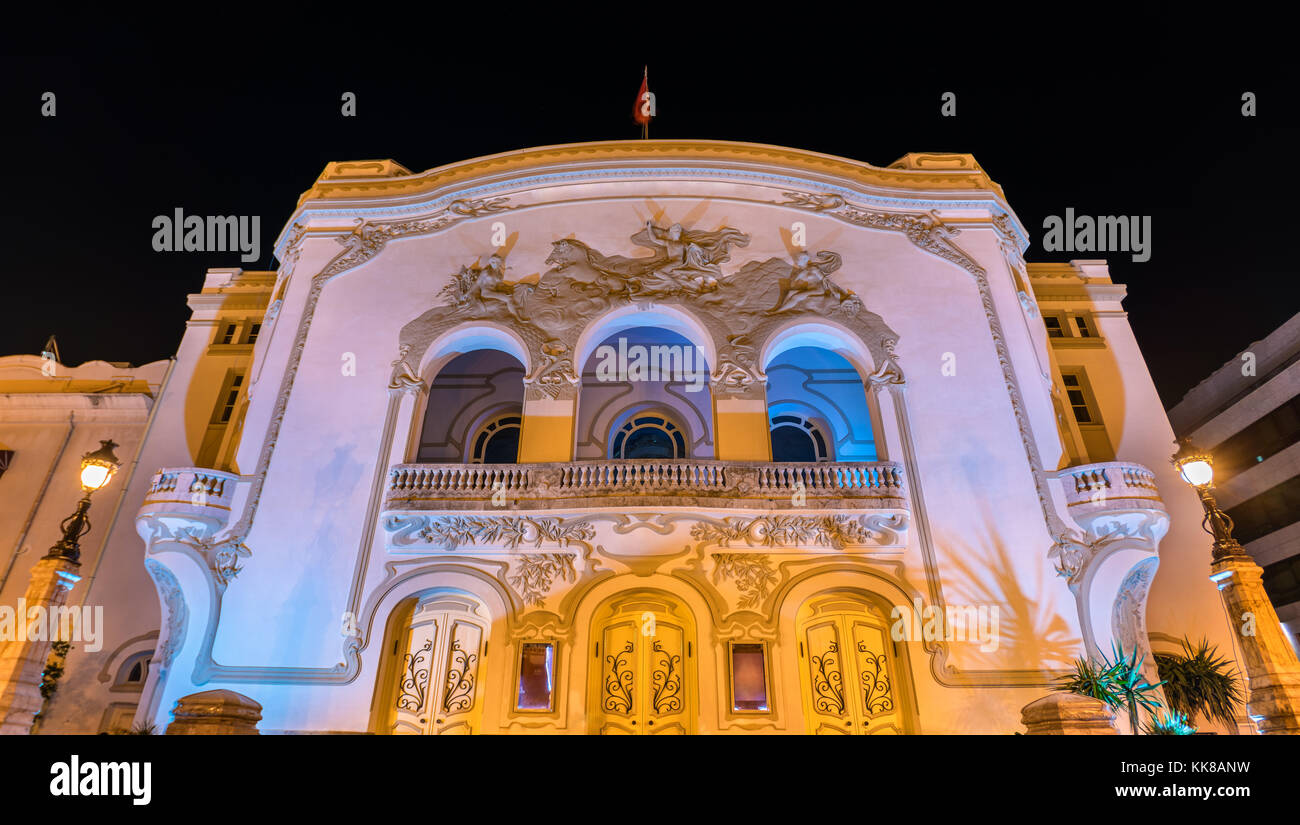 The Municipal Theater of Tunis at night. Tunisia, North Africa - Stock Image