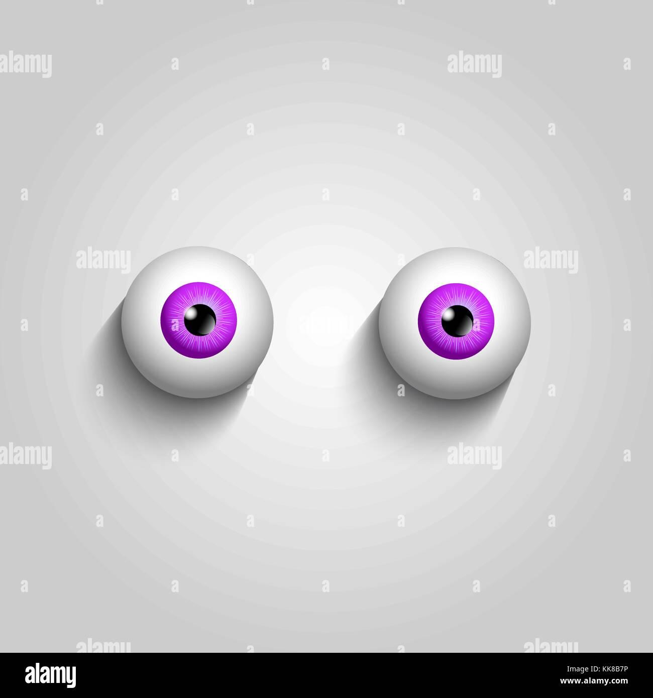 Pair of pink eyeballs isolated on white background. Vector illustration, clip art. - Stock Vector