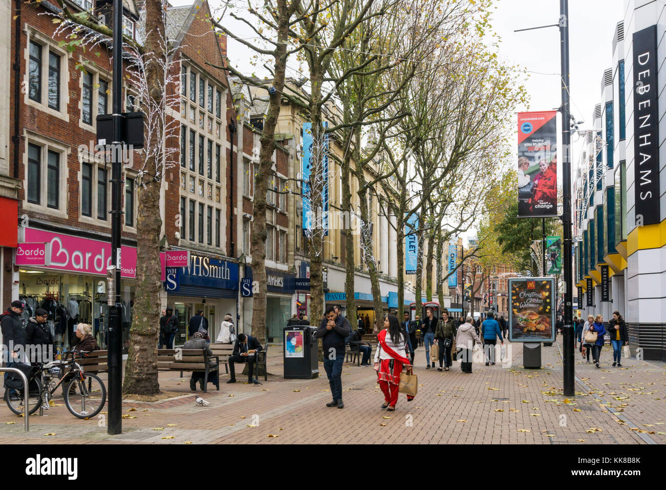 The pedestrianised shopping street of North End, Croydon. - Stock Image