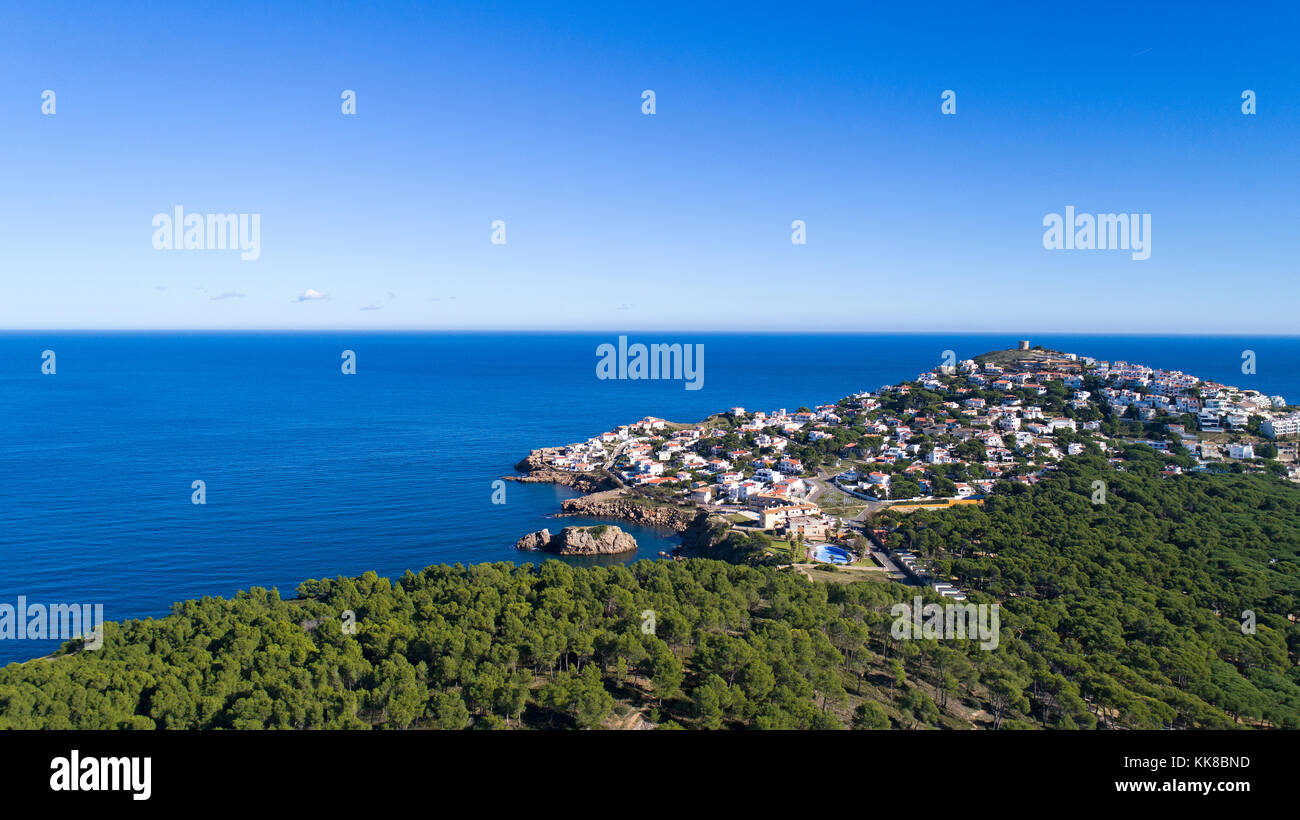 Aerial photography of Montgo village in Spain - Stock Image