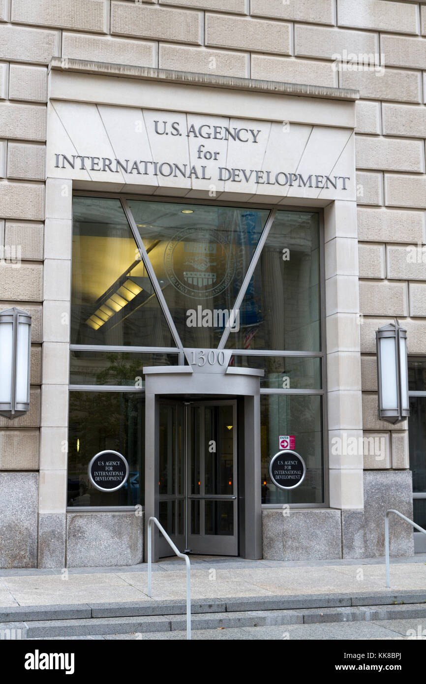 Entrance to the US Agency for International Development (USAID), part of the Ronald Reagan Building, Washington - Stock Image