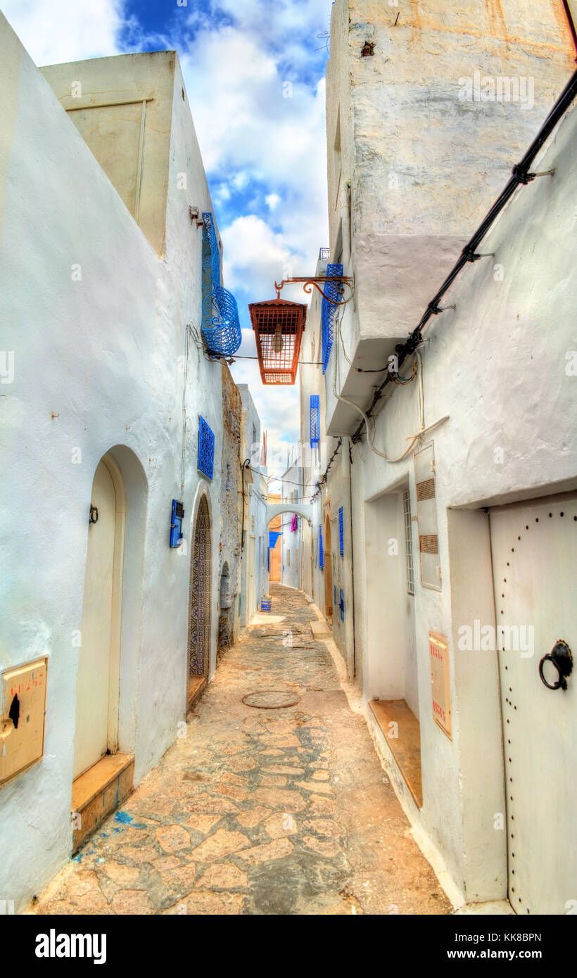 Traditional houses in Medina of Hammamet, Tunisia - Stock Image