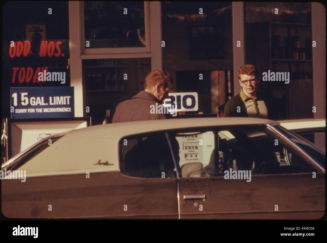 On January 31, 1974, an Odd-Numbered Day, Motorists with Odd-Numbered License Plates Could Obtain Gasoline at This - Stock Image