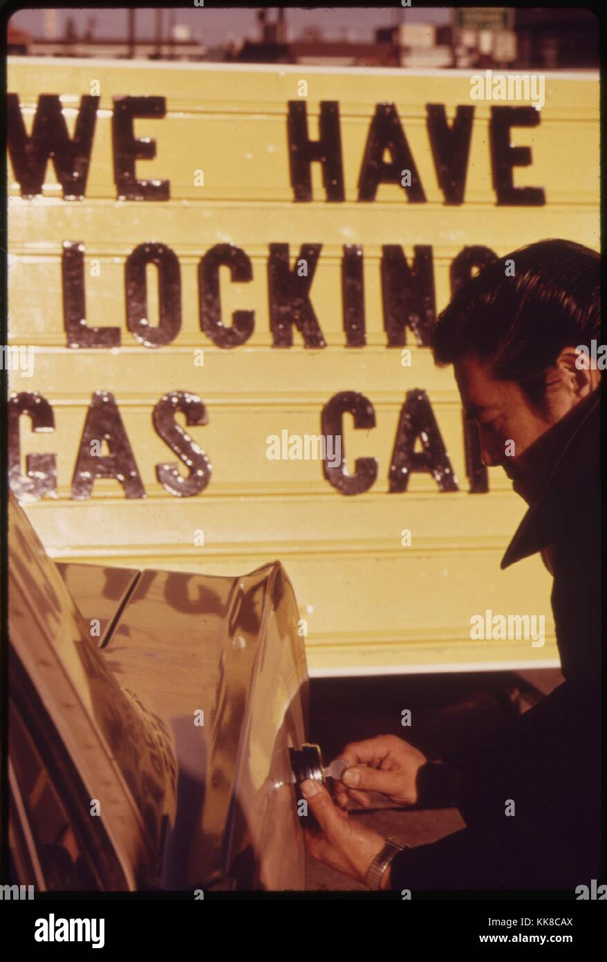 Sales of Gasoline Tank Locks Increased Dramatically During the Fuel Crisis in the Pacific Northwest, and Their Prices - Stock Image