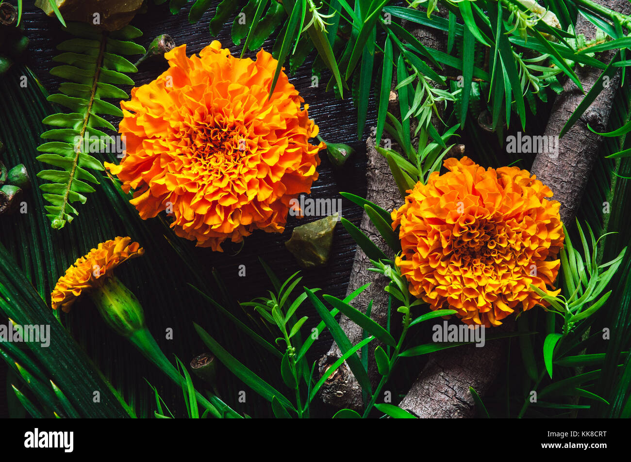 Marigold Flowers with Botanicals and Green Opal - Stock Image