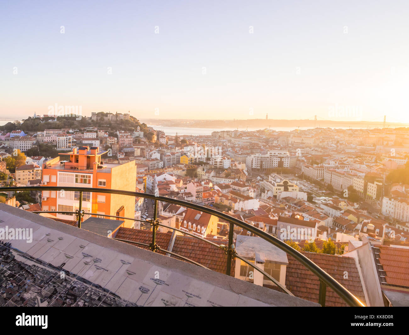 LISBON, PORTUGAL - NOVEMBER 19, 2017: Cityscape of Lisbon, Portugal, at sunset on a November day, as seen from Belvedere - Stock Image