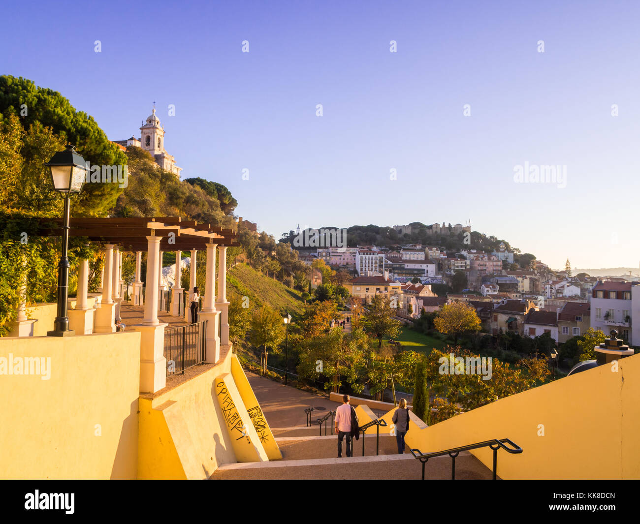 LISBON, PORTUGAL - NOVEMBER 19, 2017: Jardim da Cerca da Graca in Lisbon, Portugal, at sunset. Sao Jorge castle - Stock Image