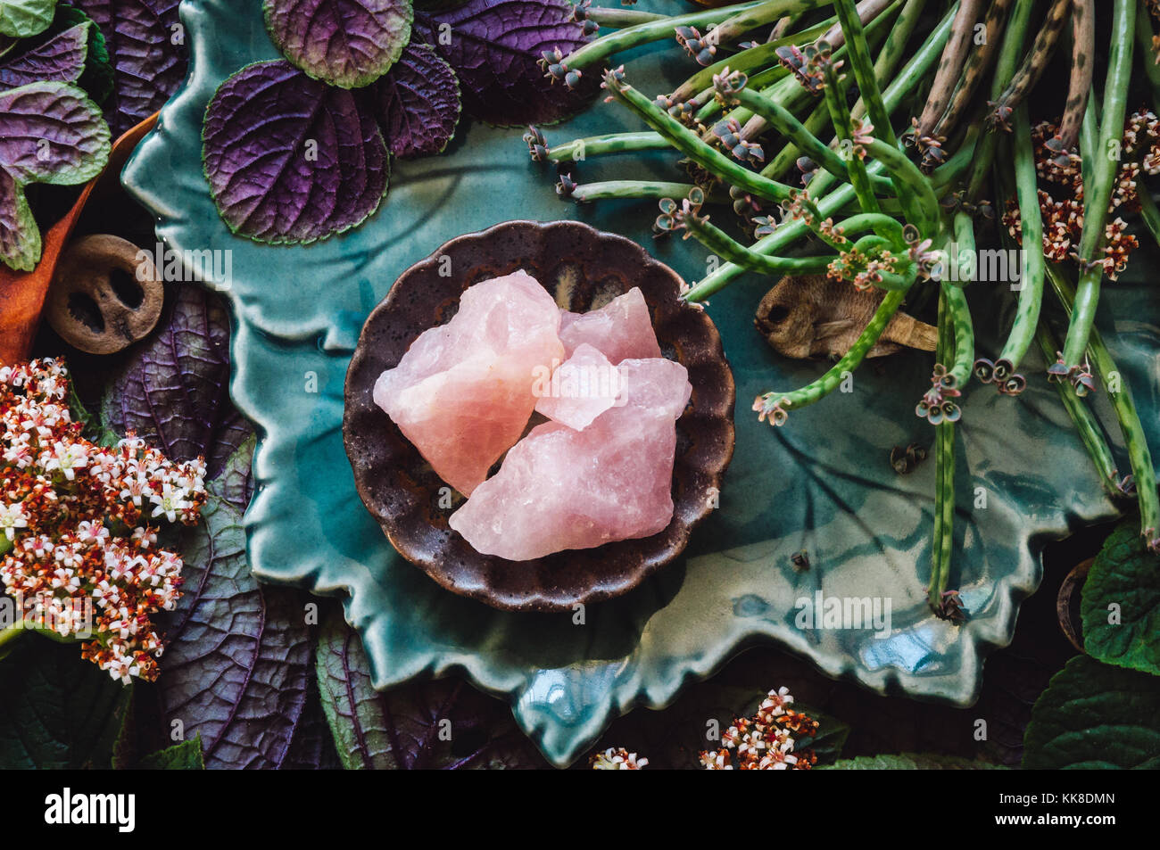 Mixed Specimens and Rose Quartz Stock Photo