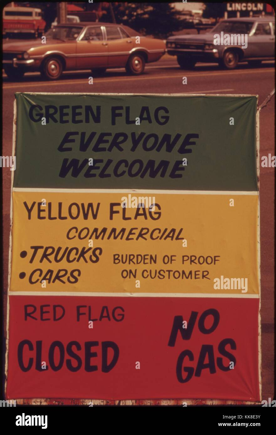 Gasoline Dealers in Oregon Displayed Signs Explaining the Flag Policy During the Fuel Crisis in the Winter of 1973 - Stock Image