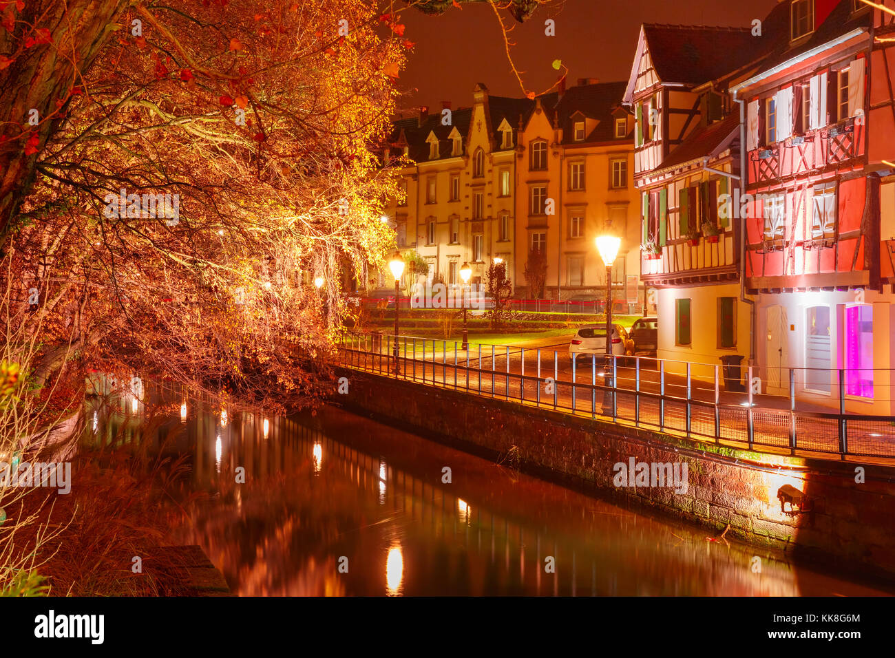 Christmas Little Venice in Colmar, Alsace, France - Stock Image