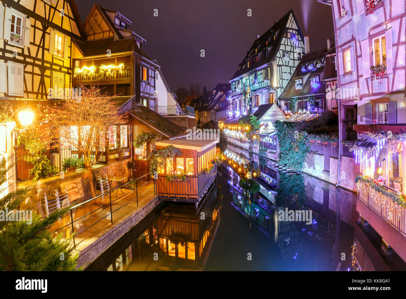 Christmas Little Venice in Colmar, Alsace, France - Stock Image