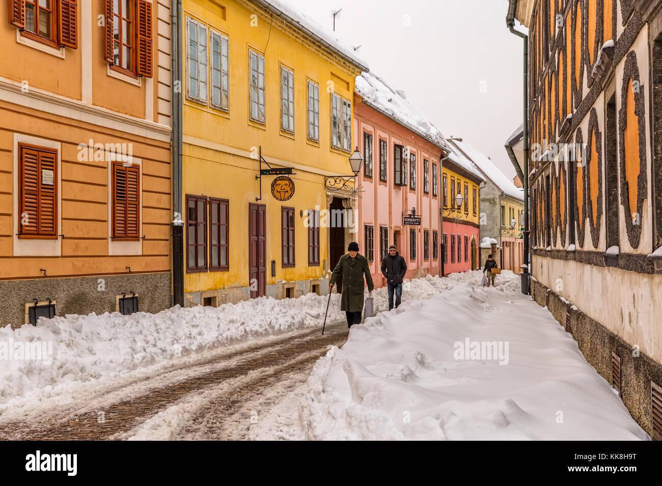 Varazdin old city winter time - Stock Image