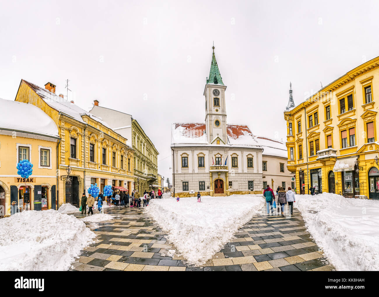 Varazdin main square winter time - Stock Image