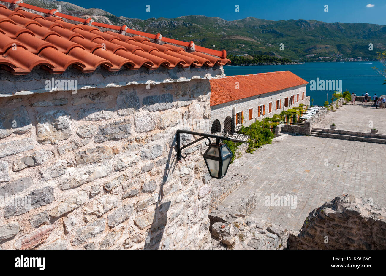 Budva from the walls out to sea Stock Photo