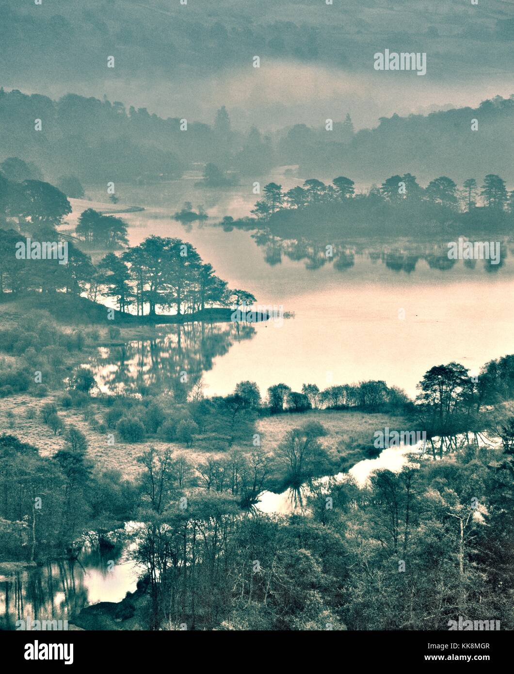 Rydal Water in the Lake District National Park near Grasmere, Ambleside and Windermere. Cumbria, England. Winter - Stock Image