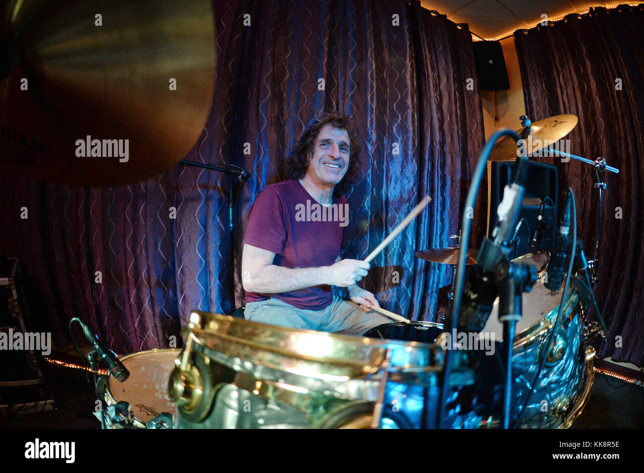 FORT LAUDERDALE, FL - JANUARY 15: Corky Laing performs during his Birthday Party Jam with friends including Joe - Stock Image