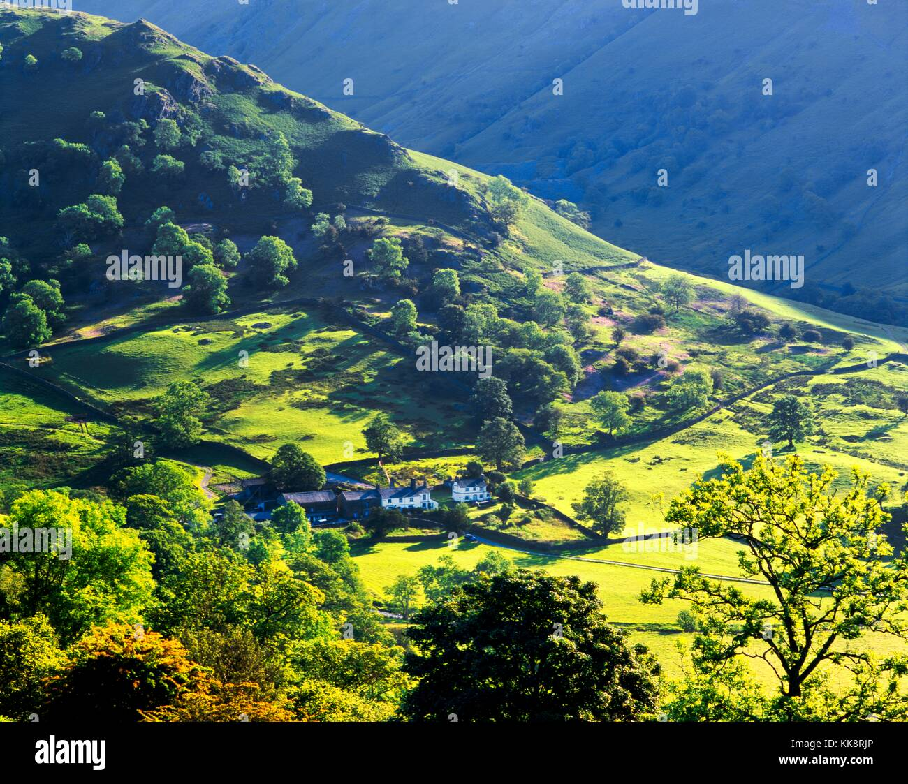 Hill farm at the head of Troutbeck valley, north of Windermere, in the Lake District National Park, Cumbria, England. - Stock Image