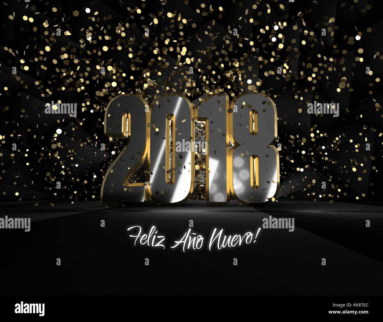 Dark and elegant postcard with the best wishes for the new year 2018 - Stock Image