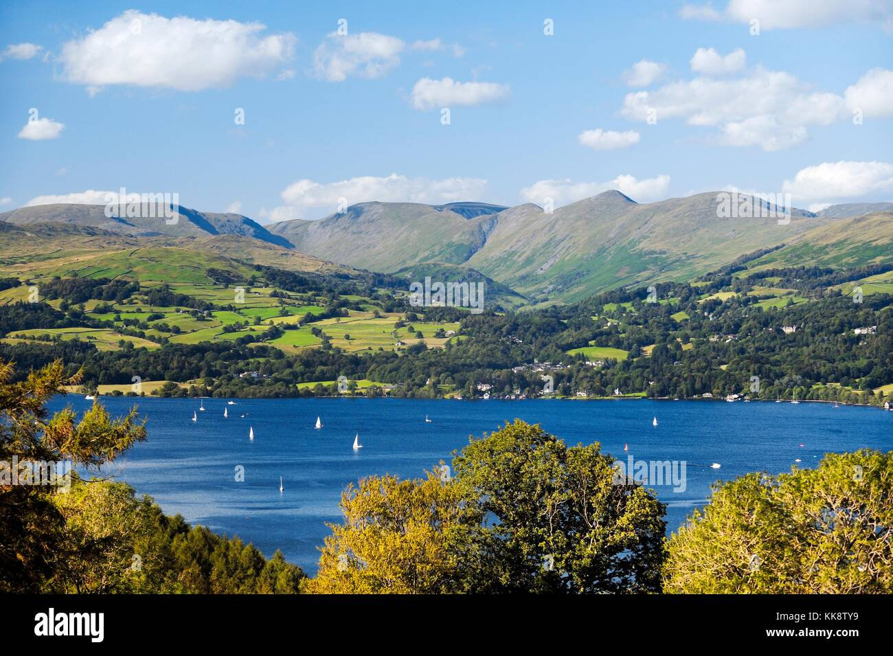 Lake District National Park, Cumbria, England. N.E over Windermere to the Wansfell and Ill Bell fells above Troutbeck - Stock Image