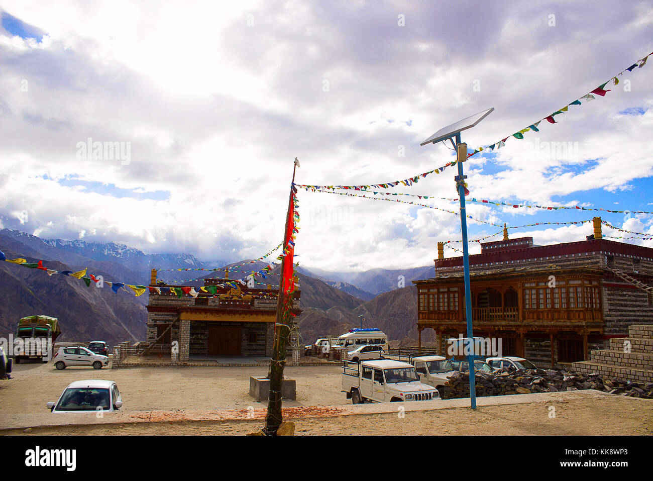Colorful Décor at Monastery, in Village of Gue, Spiti, Shimla, India - Stock Image