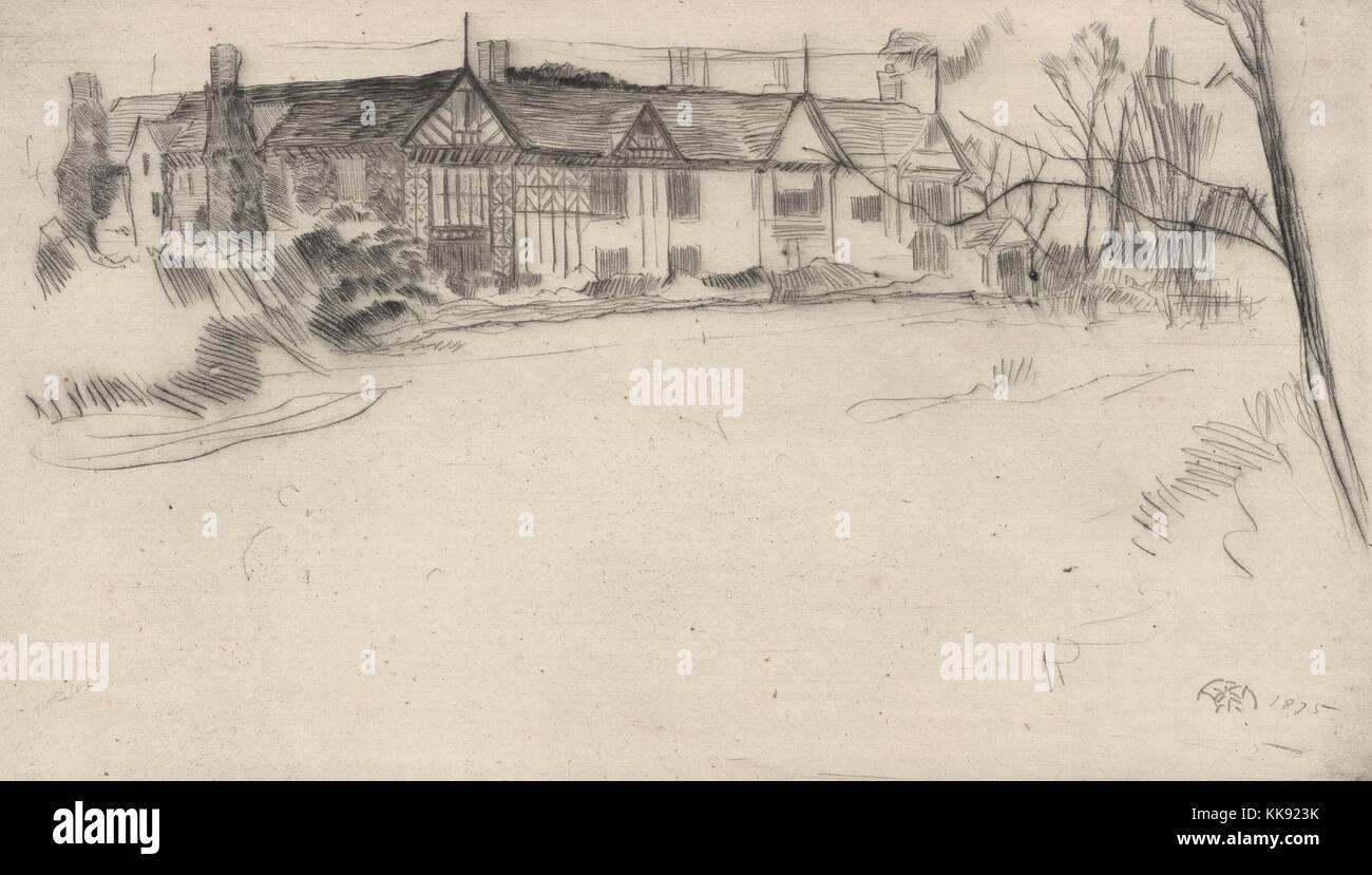 An etching from an illustration of Speke Hall, it is a Tudor manor home made from wood-framed wattle-and-daub construction, - Stock Image